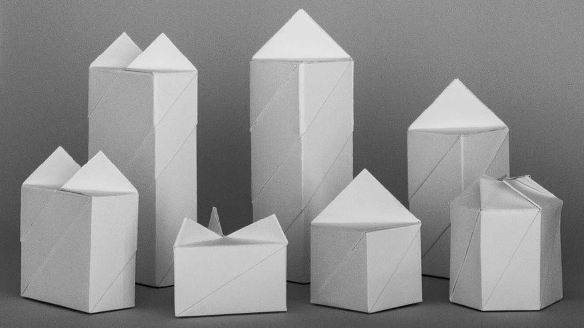 emanuel dion, folding boxes with triangular, rectangular, square and hexagonal base